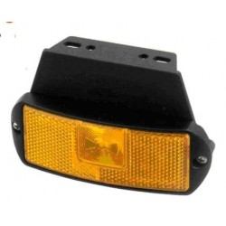Fanale LED ARANCIO 24V CON SUPPORTO filo e base piana, 1 led laterale