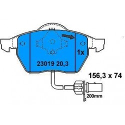 Front Brake pads GALAXI AUDI A4 with 1 warning