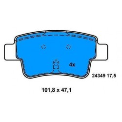 Rear Brake pads GRANDE PUNTO FROM 2006 1.4 BZ-1.9 M.JET