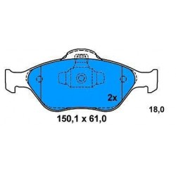 Front brake pads FORD FIESTA 1.4-1.6 TDCI SINCE 2000 FUSION 1.4-1.6