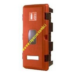 Red fire extinguisher upright